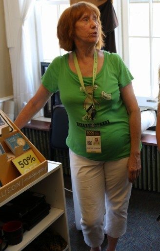 Joanne Urschel, native valpo resident, shows off the PoCo Museum gift shop
